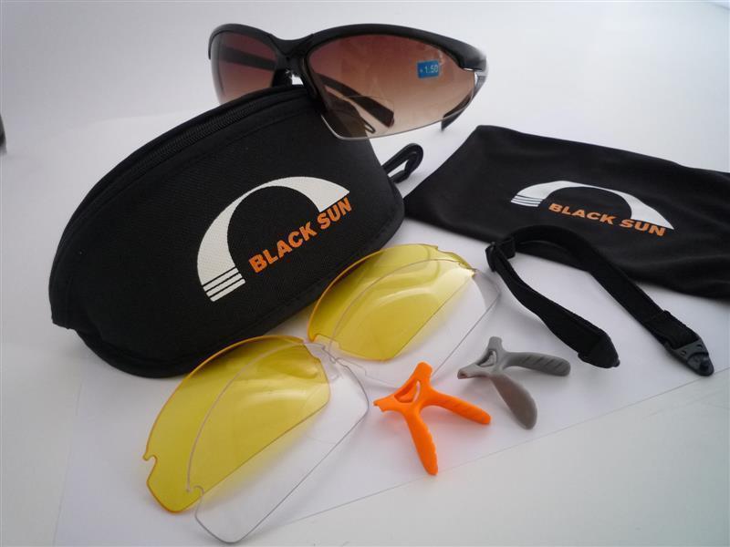 Eagle Five Sportlesebrille, schwarz, mit 3 Gläsern, Etui, Brillenband